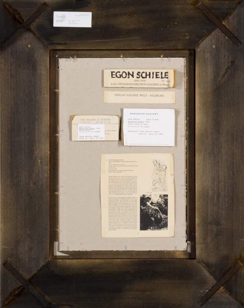Egon Schiele Zeichnung mit Infos zur Provenienz auf der Rückseite
